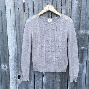 Pins and Needles Gray Mohair Pom Sweater M
